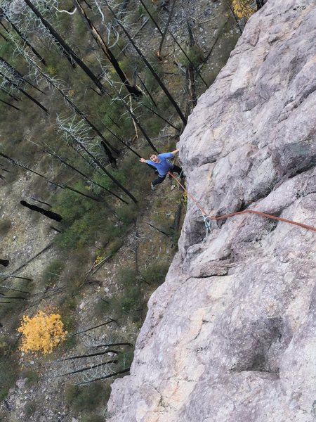 Having fun on the arete, feeling weightless!