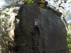 Rock Climbing Photo: crossing on the mono-pocket
