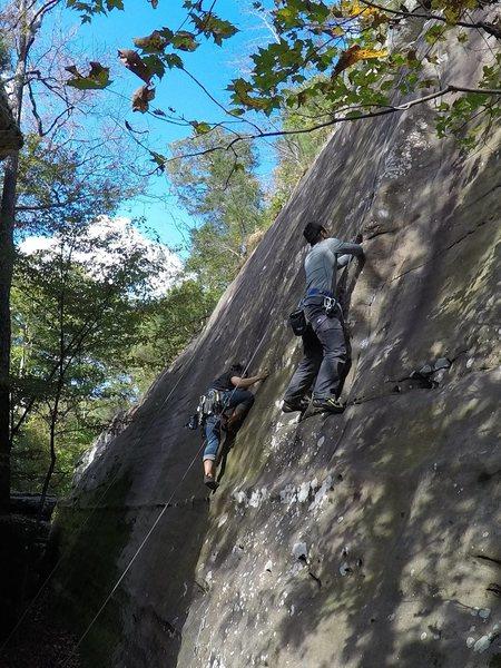 Rock Climbing Photo: Foreground: Fine Nine, Background: Split Decision