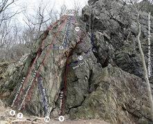 Some routes on Chickies Rock&#39;s Northwest Buttress section, from Michael Hartman&#39;s guide <a href='http://bit.ly/2gp8wFv' target='_blank' rel='nofollow' >bit.ly/2gp8wFv</a>
