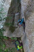 Rock Climbing Photo: Julia starting off the Zipper
