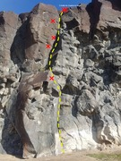 "Rock Climbing Photo: Photo of Route ""18"" at Main Wall in Ross..."