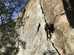 Rock Climbing Photo: Following on Outer Limits at Yosemite