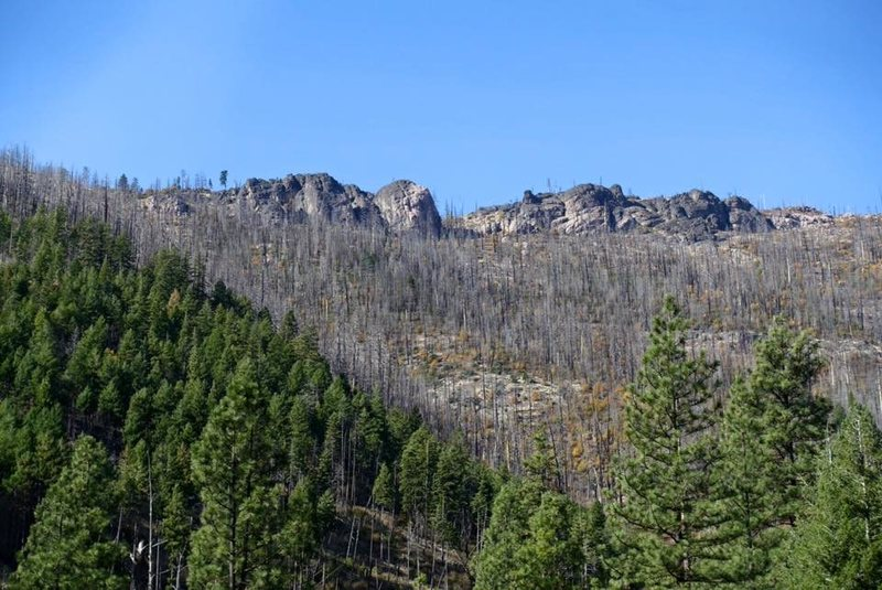 View of the entire formation, the highest points are 200 feet tall.