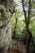 Rock Climbing Photo: Me doing the last move at the top of the arete, in...