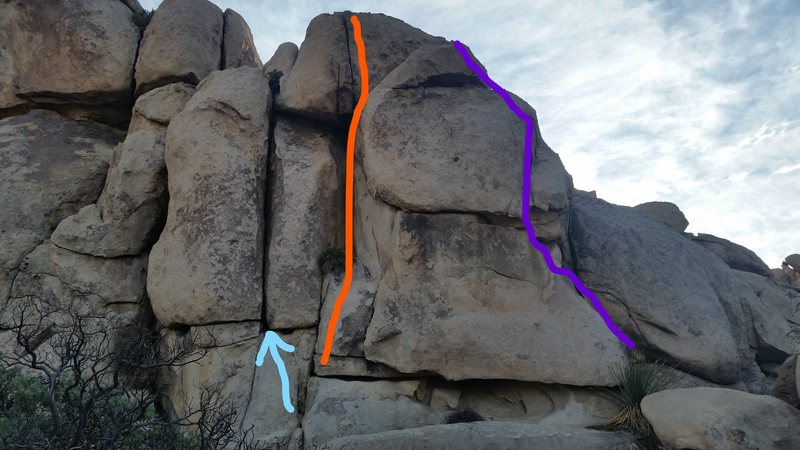 Misplaced Modifiers climbs the crack above the blue arrow in the photo.