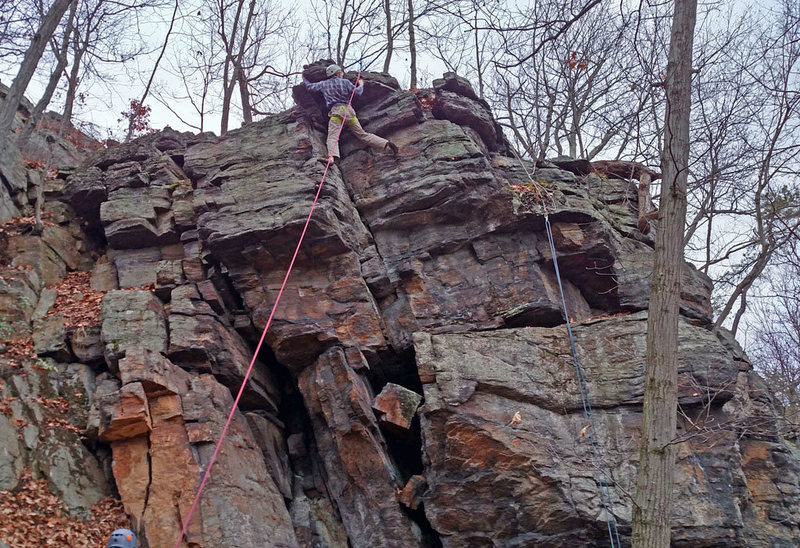Karl climbing out top of Ruby Ray Mystery