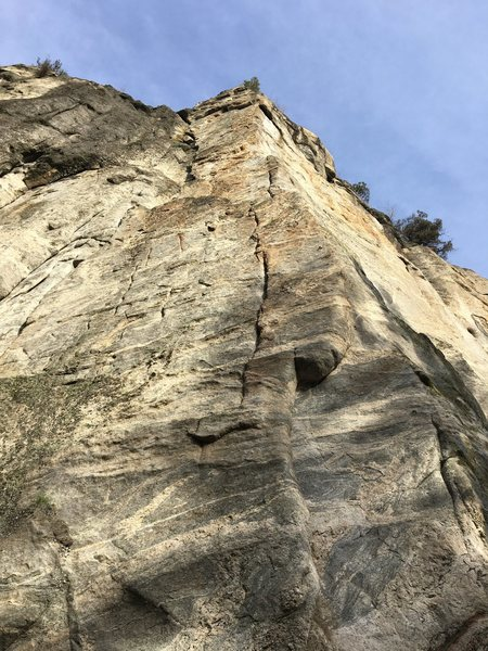 Looking up the main arete.