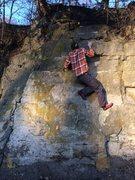 Rock Climbing Photo: Right hand to pocket, layback