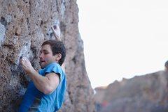 Rock Climbing Photo: Tomer pulling hard on the pocket on Solarium