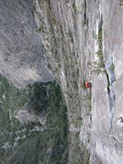 Rock Climbing Photo: Heading up the 3rd pitch, with the odd cable trave...