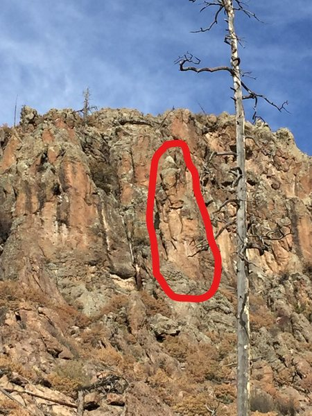 Rock Climbing Photo: What I think may be Lighthouse Tower in red circle...