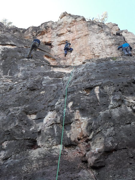 Rock Climbing Photo: The route follows the green rope up the middle to ...