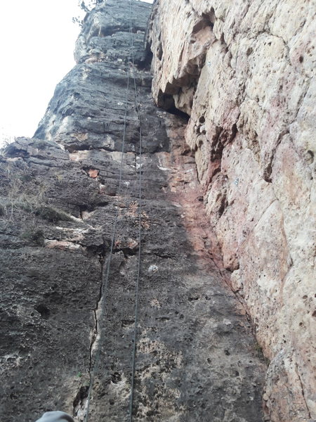 Rock Climbing Photo: The route follows the black surface.
