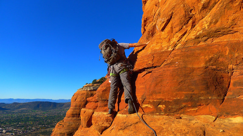 Rock Climbing Photo: Contemplating the technical pitch.