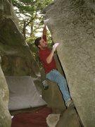 Rock Climbing Photo: Evan R. on Duct Tape (V4), circa 2002.