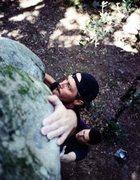 Rock Climbing Photo: Ron Pervorse on Gym Rat (V4) at The Muffins circa ...