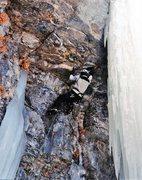 Rock Climbing Photo: Myself on FFA of Too Far Gone M5?, Stewart Falls, ...