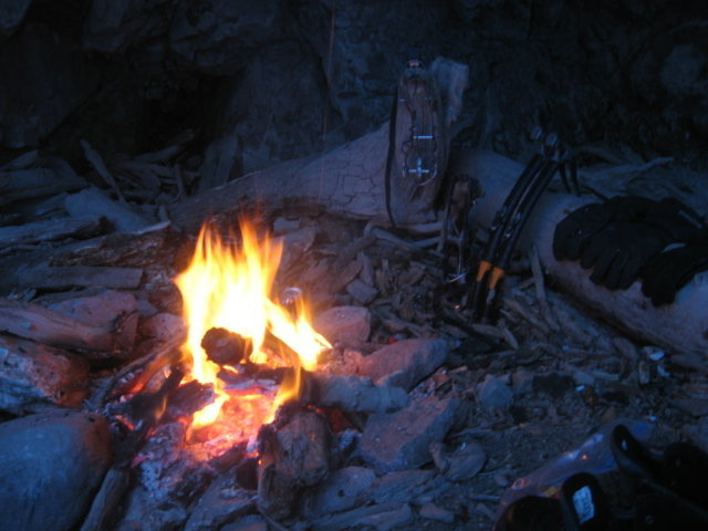 Warming fire to dry out after soloing Bullion Falls and Cascade Falls.