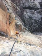 Rock Climbing Photo: Final .11 pitch. Red Dihedral below! Photo by Dere...