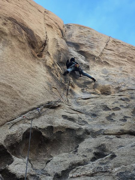 Bob doing the splits on up the crack.