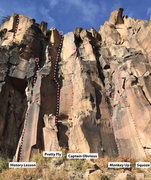 Rock Climbing Photo: Routes surrounding Monkey Up (Monkey Spank) and Pr...