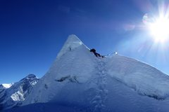 Rock Climbing Photo: Cholatse summit with Mount Everest in the backgrou...