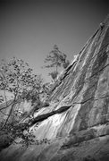 Rock Climbing Photo: Unknown climber up high on dinkus