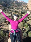 Rock Climbing Photo: Sitting on narrow summit on Thanksgiving weekend.