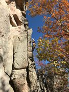 Rock Climbing Photo: The middle arete of Nick of Time, Sand Rock, AL.  ...