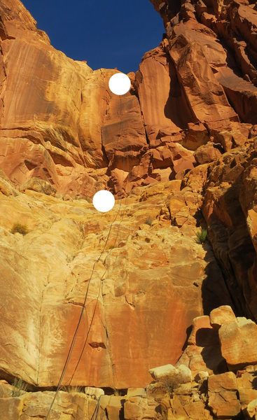 Rock Climbing Photo: The 4th class scramble, and P1 with belays marked.