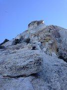 Rock Climbing Photo: Brett moving up pitch 1