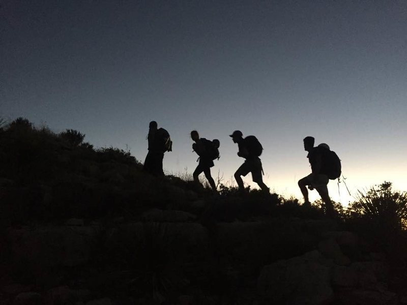Hiking out of the canyon at dusk