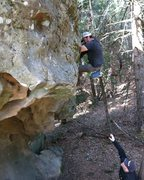 Rock Climbing Photo: Evan Rosenberg bouldering out Tall Man Simplex (5....