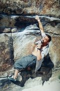 Rock Climbing Photo: Sean Ryan styling it up on Gunsmoke Traverse (V3),...