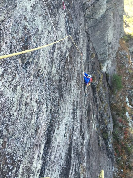 Rock Climbing Photo: Ron Funderburke in a maze of horizontals on the 3r...