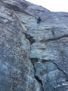 Rock Climbing Photo: Ron Funderburke nearing the crux on the first pitc...