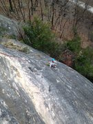 Rock Climbing Photo: Climber following on Artifact, at the third bolt o...