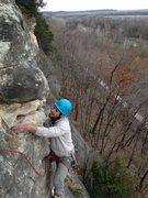 Rock Climbing Photo: Climber following on Artifact, climbing left out o...