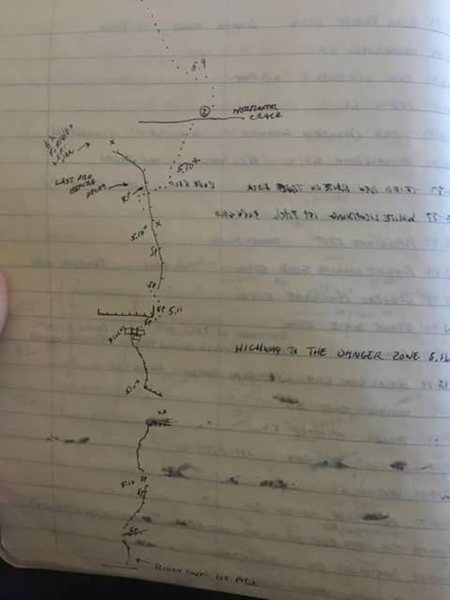 "Original hand drawn topo from Thomas Kelly. The route name is listed as ""Highway to the Danger Zone"""