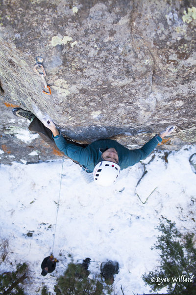 Todd engaging the crux on Cross your mind.<br> <br> Photo by Ryan Willard.