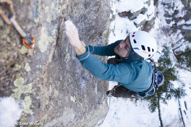 Rock Climbing Photo: Todd exiting the crux of Cross Your Mind.  Photo b...