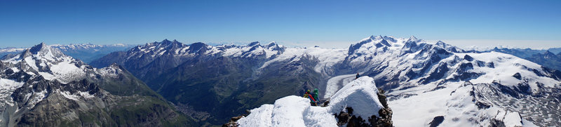 Matterhorn summit panorama east. Seen in the background (left-to-right): Weisshorn, Mischabel and Monte Rosa Groups.