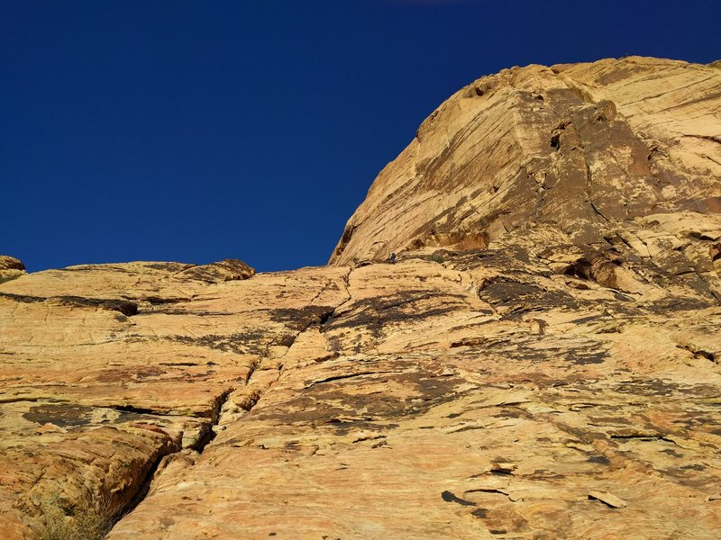 Rock Climbing Photo: Looking up the approach slabs described in steps #...