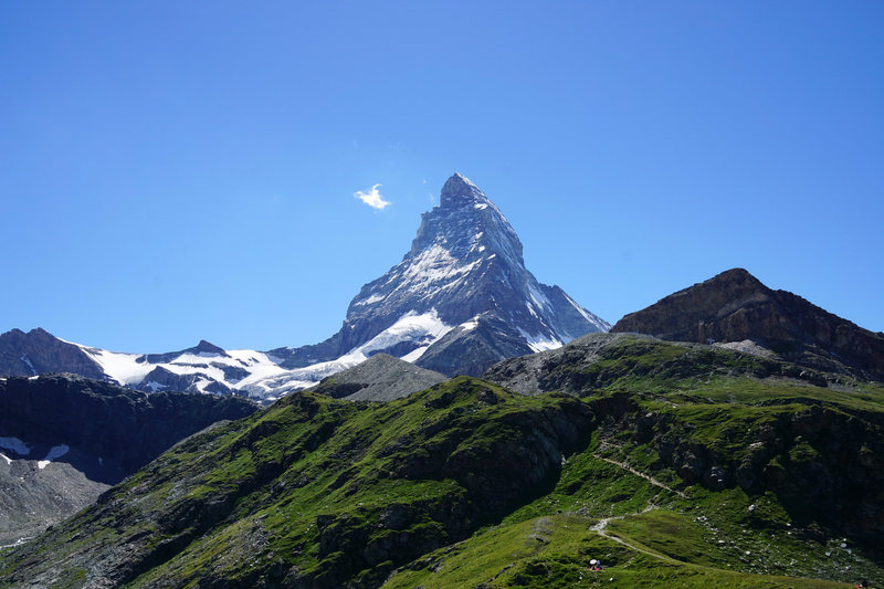 Hörnli Hut approach trail with Matterhorn towering above seen from Schwarzsee.