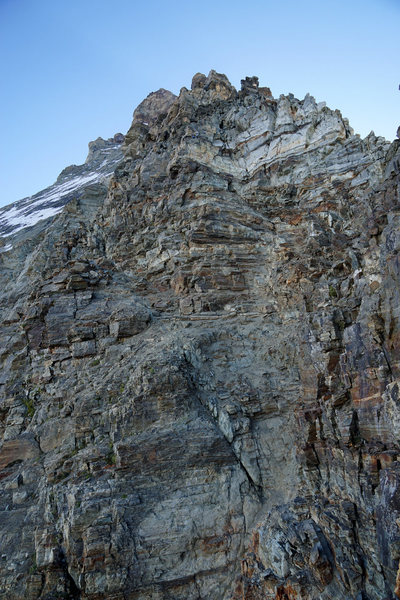 Type of terrain you will encounter around the Second Couloir on the lower part of the route.<br> <br>