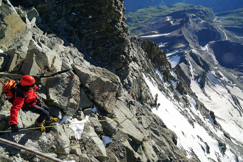 Looking down the Lower Moseley Slabs from the Solvay Hut.