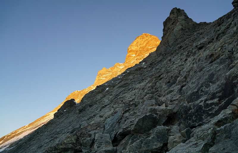 Morning light on the upper mountain. View from East Face below the Alte Hütte.