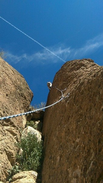 Rock Climbing Photo: Joey setting up a TR. Mad chemtrails raining down