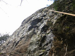 Rock Climbing Photo: The bottom half of Guillotine 5.9+ stays (mostly) ...